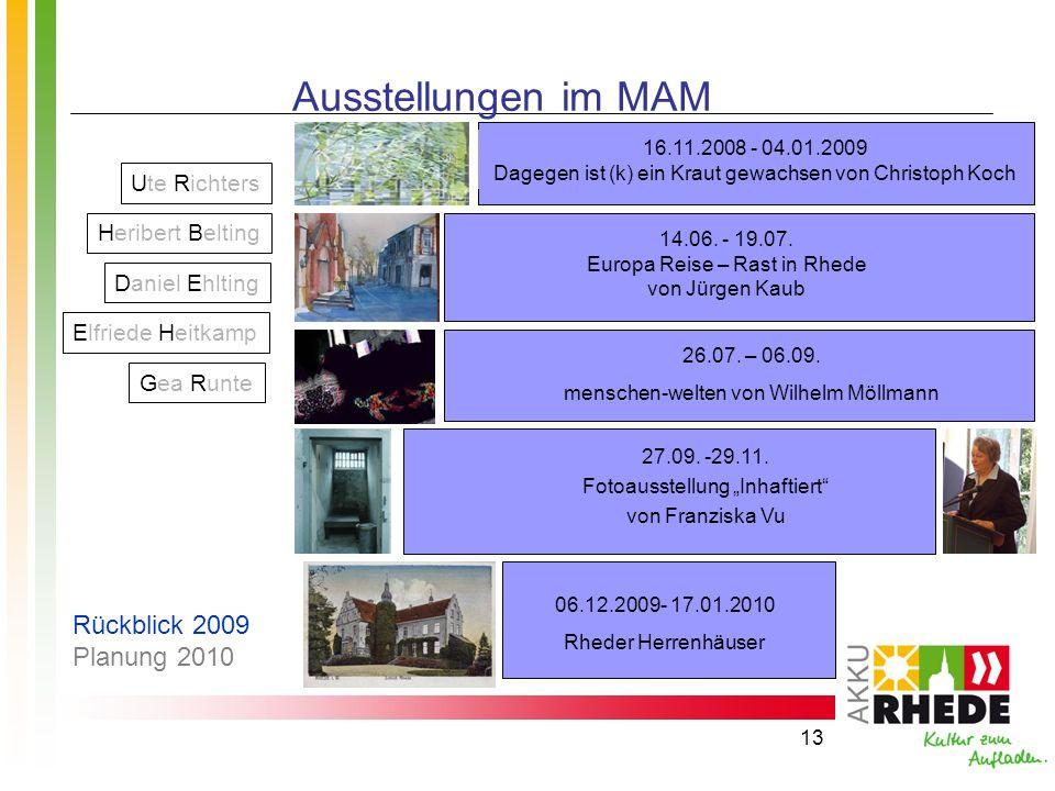 13 Ausstellungen im MAM 14.06. - 19.07. Europa Reise – Rast in Rhede von Jürgen Kaub 27.09. -29.11. Fotoausstellung Inhaftiert von Franziska Vu 06.12.