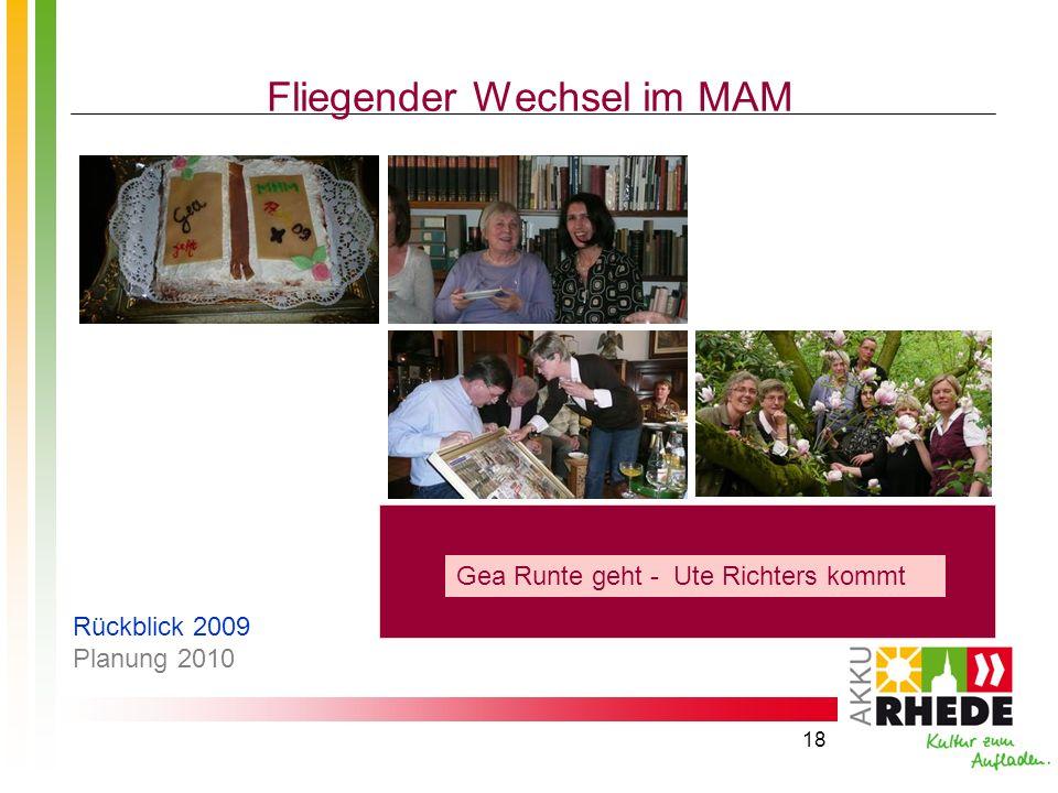 18 Fliegender Wechsel im MAM Gea Runte geht - Ute Richters kommt Rückblick 2009 Planung 2010
