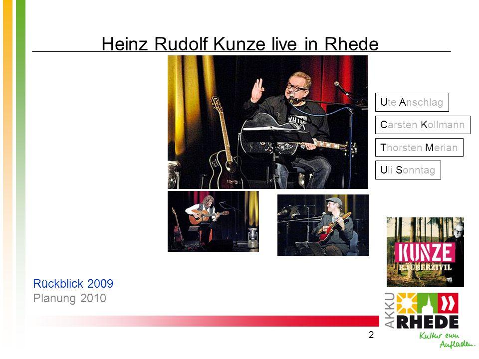 2 Heinz Rudolf Kunze live in Rhede Uli Sonntag Carsten Kollmann Thorsten Merian Ute Anschlag Rückblick 2009 Planung 2010