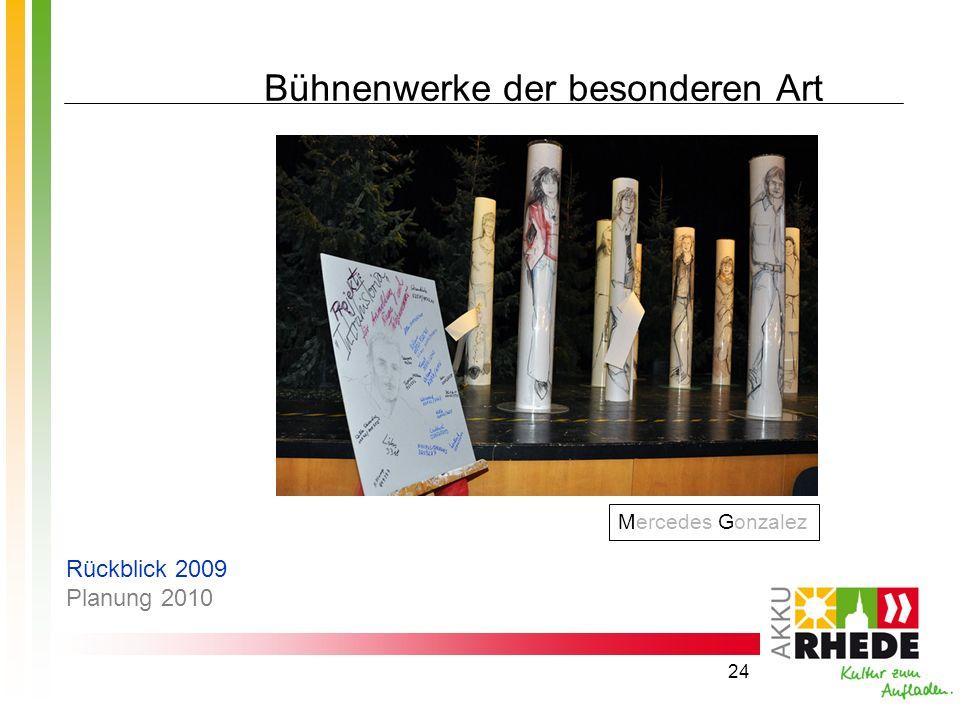 24 Bühnenwerke der besonderen Art Mercedes Gonzalez Rückblick 2009 Planung 2010