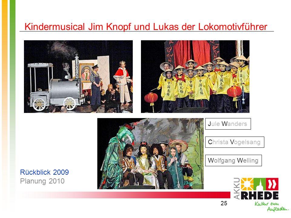 25 Kindermusical Jim Knopf und Lukas der Lokomotivführer Jule Wanders Christa Vogelsang Wolfgang Welling Rückblick 2009 Planung 2010