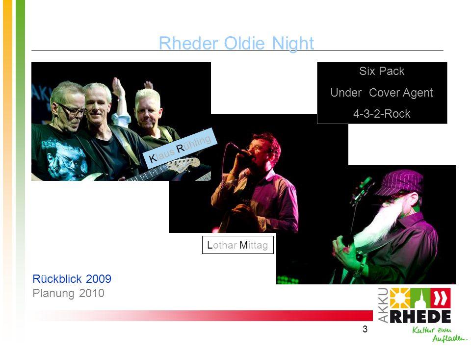 3 Rheder Oldie Night Six Pack Under Cover Agent 4-3-2-Rock Klaus Rühling Lothar Mittag Rückblick 2009 Planung 2010