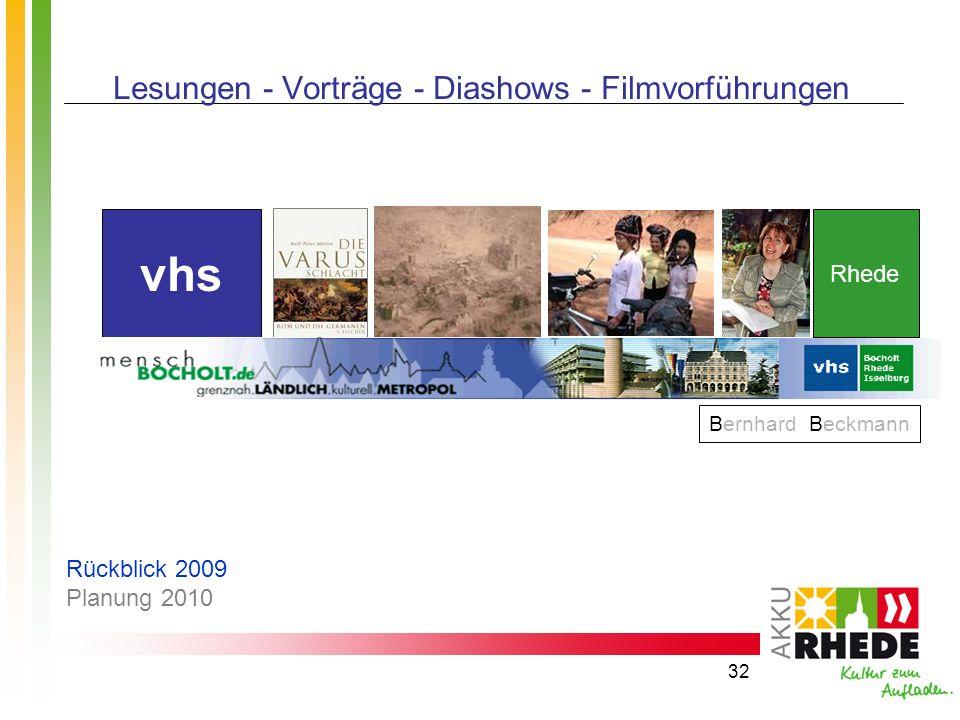 32 Lesungen - Vorträge - Diashows - Filmvorführungen Bernhard Beckmann vhs Rhede Rückblick 2009 Planung 2010