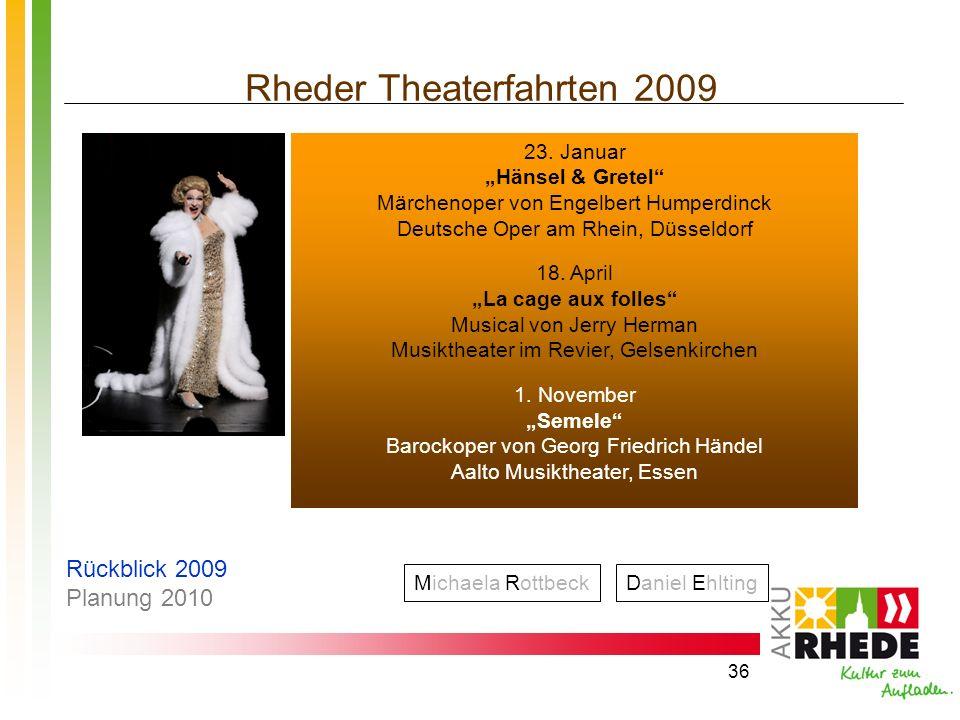 36 Rheder Theaterfahrten 2009 Michaela RottbeckDaniel Ehlting 23. Januar Hänsel & Gretel Märchenoper von Engelbert Humperdinck Deutsche Oper am Rhein,