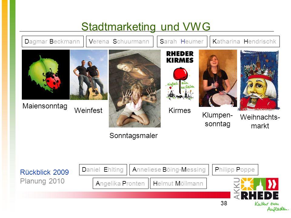 38 Stadtmarketing und VWG Maiensonntag Weinfest Sonntagsmaler Klumpen- sonntag Weihnachts- markt Dagmar BeckmannVerena SchuurmannSarah HeumerKatharina