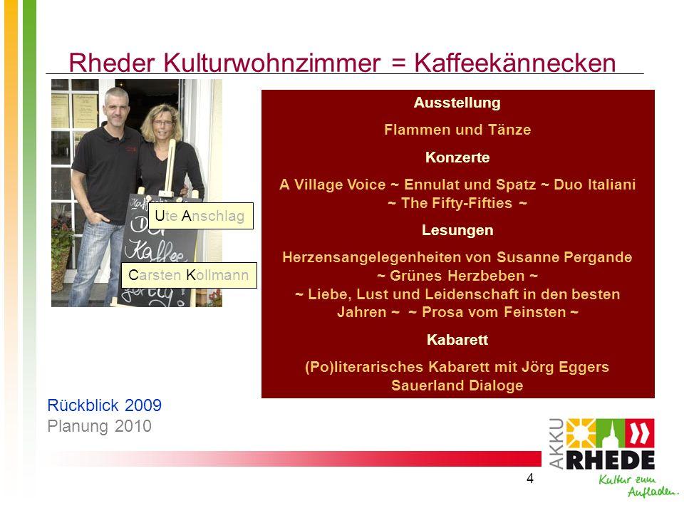 4 Rheder Kulturwohnzimmer = Kaffeekännecken Ausstellung Flammen und Tänze Konzerte A Village Voice ~ Ennulat und Spatz ~ Duo Italiani ~ The Fifty-Fift