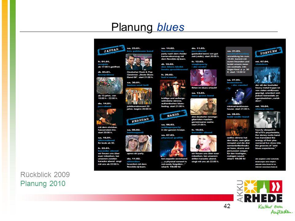 42 Planung blues Rückblick 2009 Planung 2010