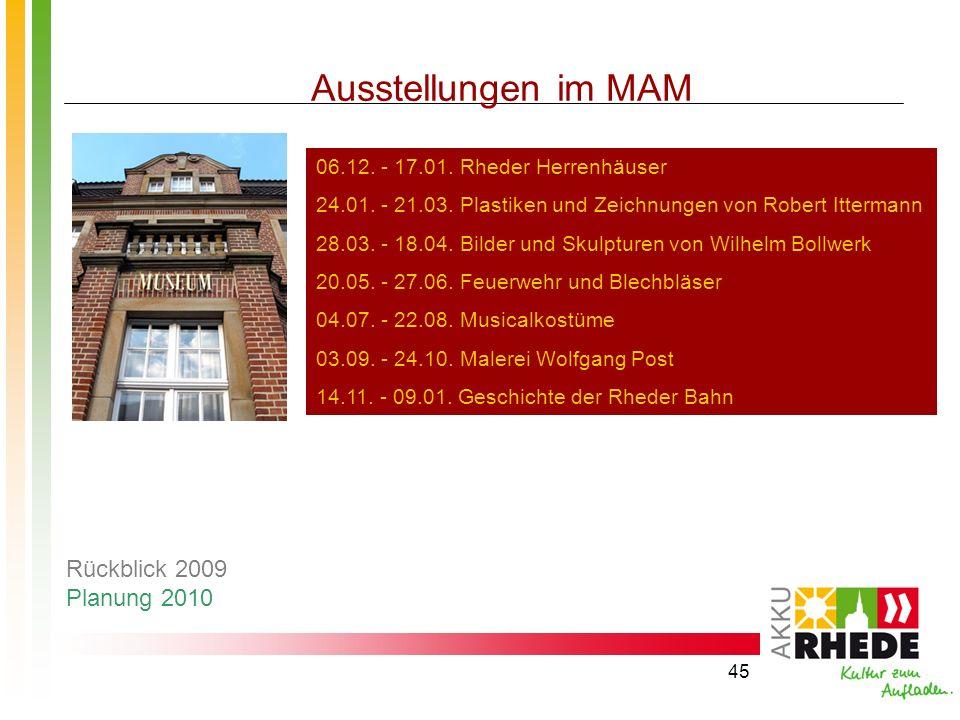 45 Ausstellungen im MAM 06.12. - 17.01. Rheder Herrenhäuser 24.01. - 21.03. Plastiken und Zeichnungen von Robert Ittermann 28.03. - 18.04. Bilder und