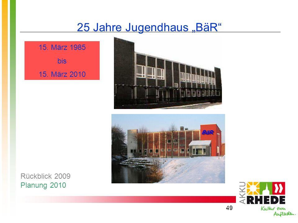 49 25 Jahre Jugendhaus BäR 15. März 1985 bis 15. März 2010 Rückblick 2009 Planung 2010