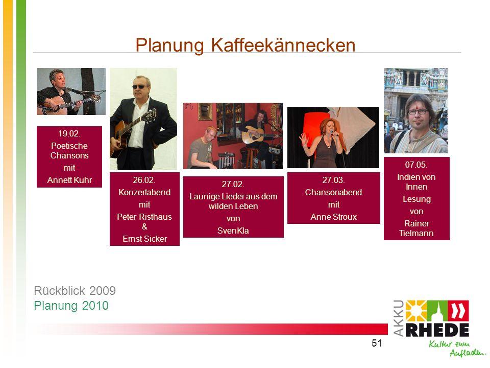 51 Planung Kaffeekännecken 26.02. Konzertabend mit Peter Risthaus & Ernst Sicker 19.02. Poetische Chansons mit Annett Kuhr 07.05. Indien von Innen Les