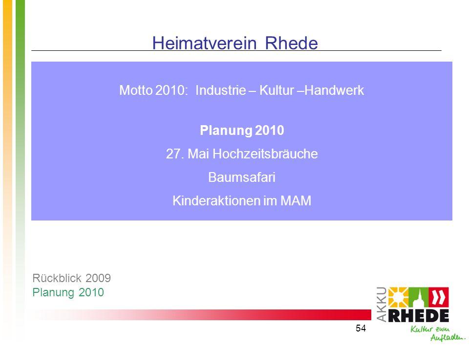 54 Heimatverein Rhede Motto 2010: Industrie – Kultur –Handwerk Planung 2010 27. Mai Hochzeitsbräuche Baumsafari Kinderaktionen im MAM Rückblick 2009 P