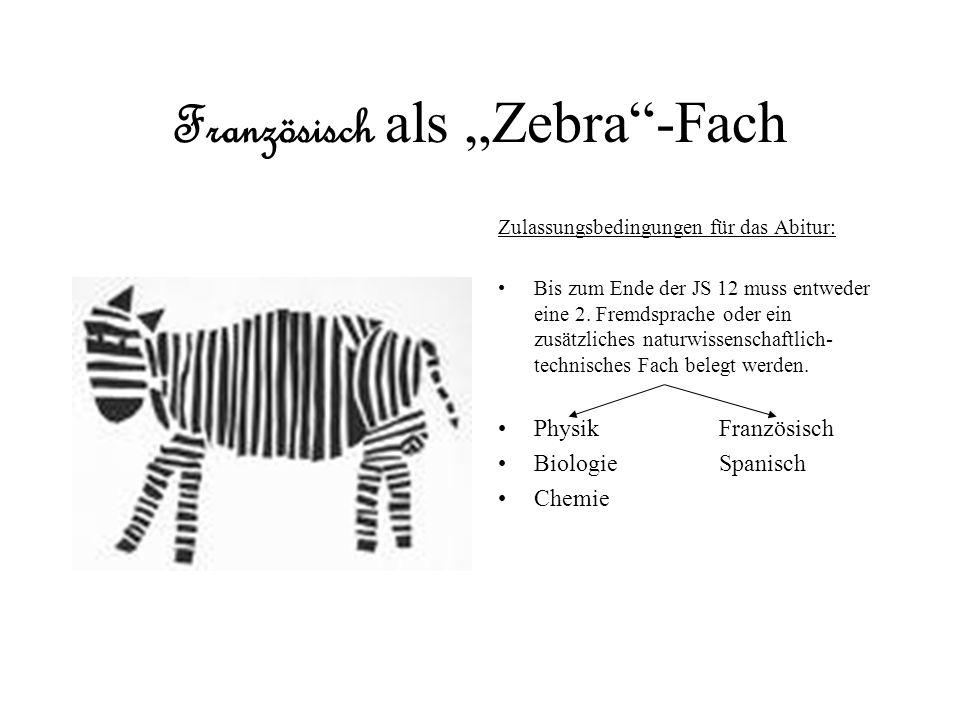 Französisch als Zebra-Fach Zulassungsbedingungen für das Abitur: Bis zum Ende der JS 12 muss entweder eine 2. Fremdsprache oder ein zusätzliches natur