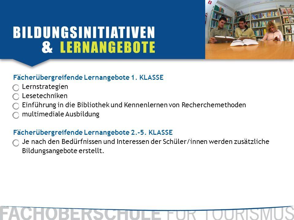 Fächerübergreifende Lernangebote 1. KLASSE Lernstrategien Lesetechniken Einführung in die Bibliothek und Kennenlernen von Recherchemethoden multimedia