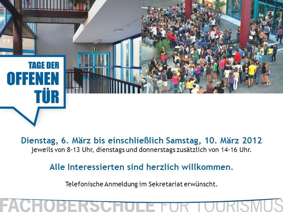 Dienstag, 6. März bis einschließlich Samstag, 10. März 2012 jeweils von 8-13 Uhr, dienstags und donnerstags zusätzlich von 14-16 Uhr. Alle Interessier