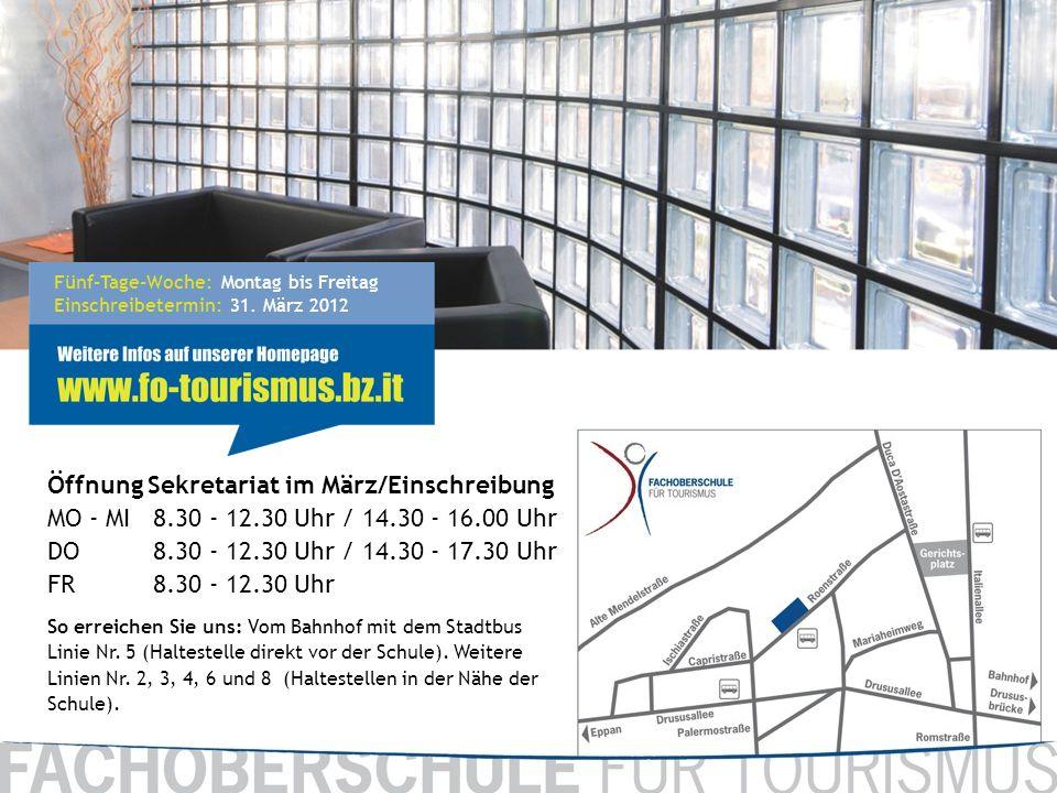 Fünf-Tage-Woche: Montag bis Freitag Einschreibetermin: 31. März 2012 Öffnung Sekretariat im März/Einschreibung MO - MI8.30 - 12.30 Uhr / 14.30 - 16.00