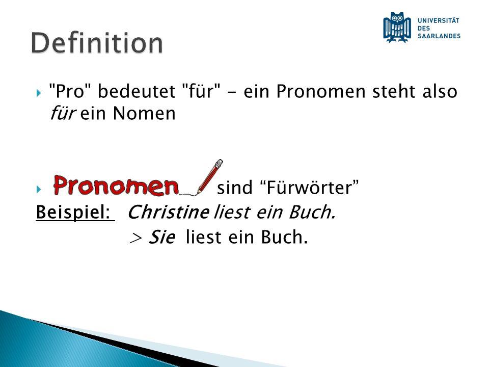 Pro bedeutet für - ein Pronomen steht also für ein Nomen sind Fürwörter Beispiel: Christine liest ein Buch.