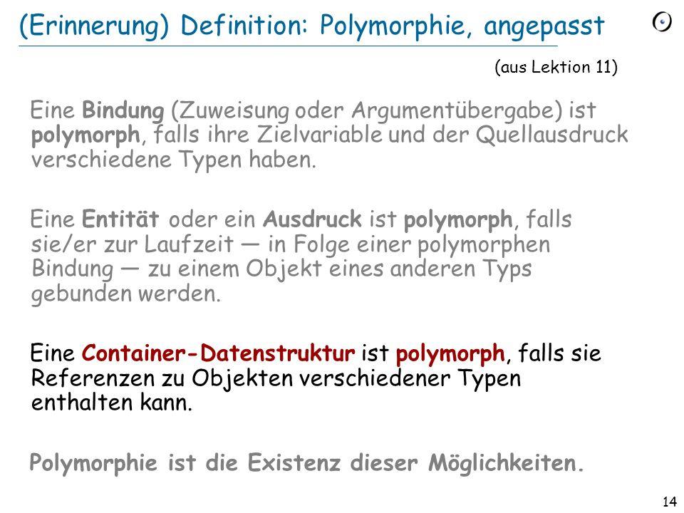 14 (Erinnerung) Definition: Polymorphie, angepasst Eine Bindung (Zuweisung oder Argumentübergabe) ist polymorph, falls ihre Zielvariable und der Quellausdruck verschiedene Typen haben.