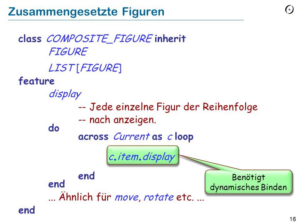 16 Zusammengesetzte Figuren class COMPOSITE_FIGURE inherit FIGURE LIST [FIGURE] feature display -- Jede einzelne Figur der Reihenfolge -- nach anzeigen.