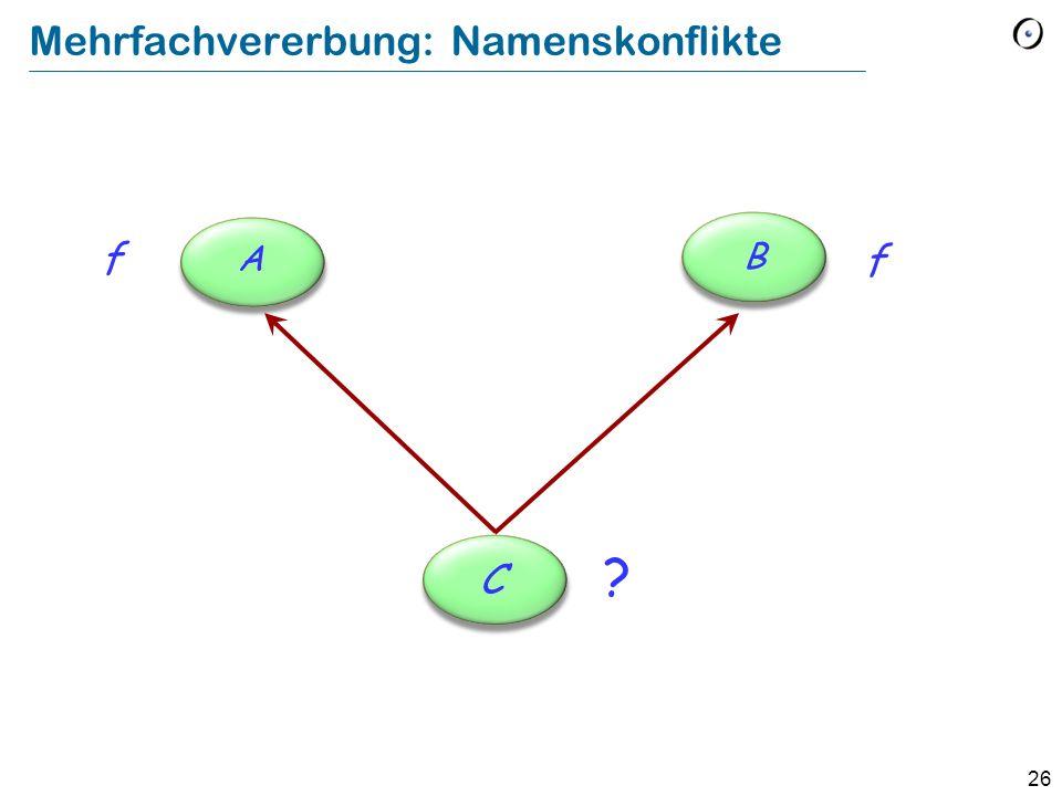 26 Mehrfachvererbung: Namenskonflikte f C f A B ?