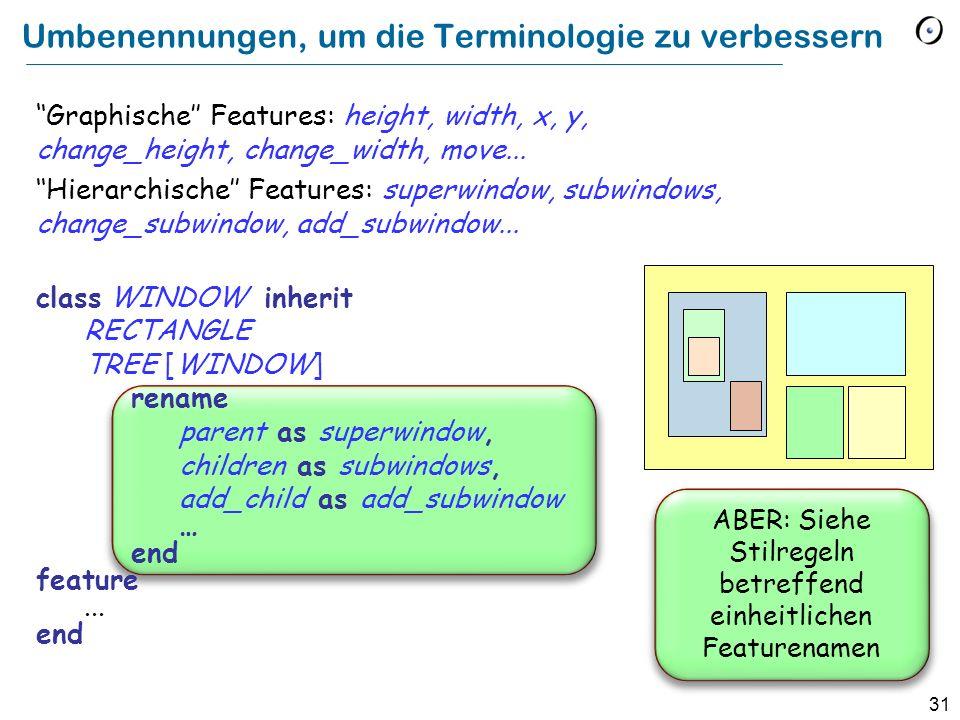 31 Umbenennungen, um die Terminologie zu verbessern Graphische Features: height, width, x, y, change_height, change_width, move...