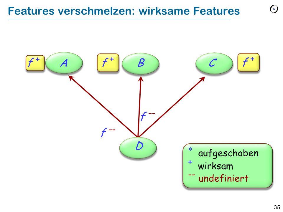 35 Features verschmelzen: wirksame Features ABC D f + aufgeschoben + wirksam -- undefiniert f --