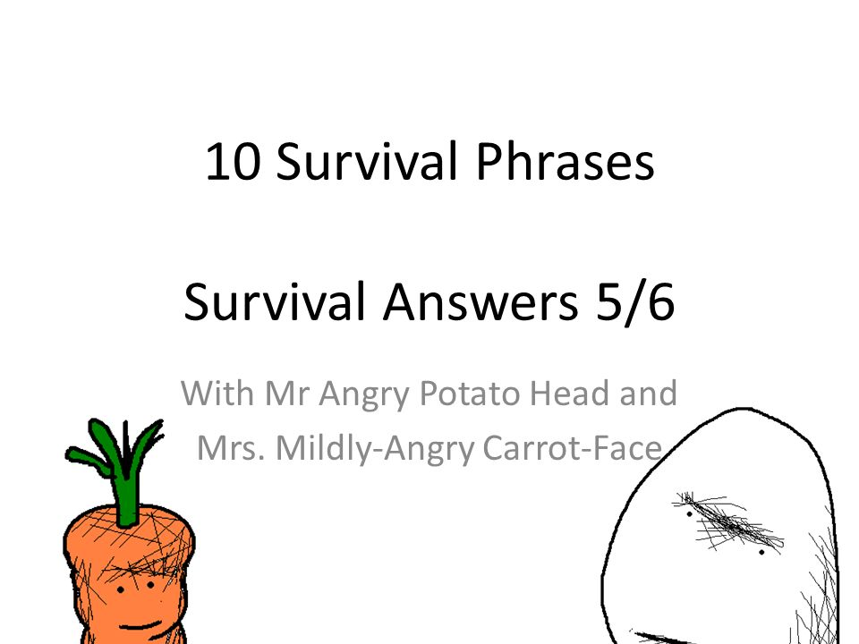 10 Survival Phrases Survival Answers 5/6 With Mr Angry Potato Head and Mrs.
