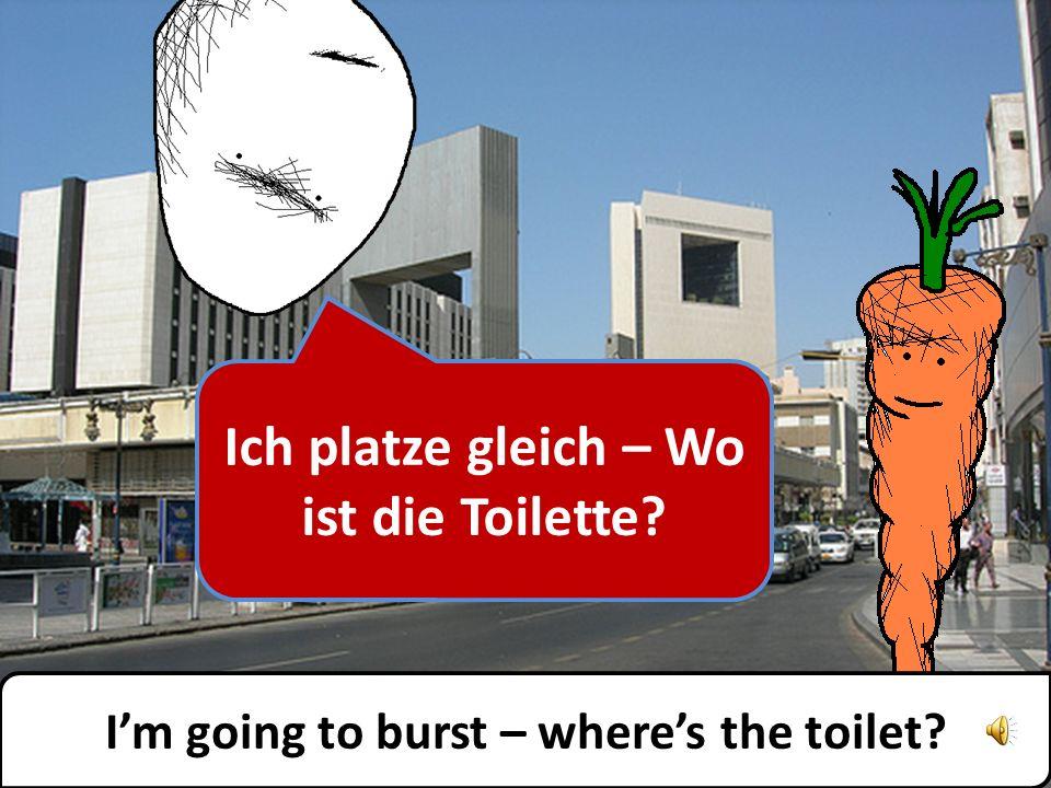 Es gibt eine öffentliche Toilette in der nächsten Straße.