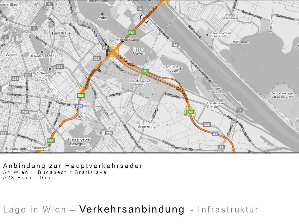 Anbindung zur Hauptverkehrsader A4 Wien – Budapest / Bratislava A23 Brno - Graz