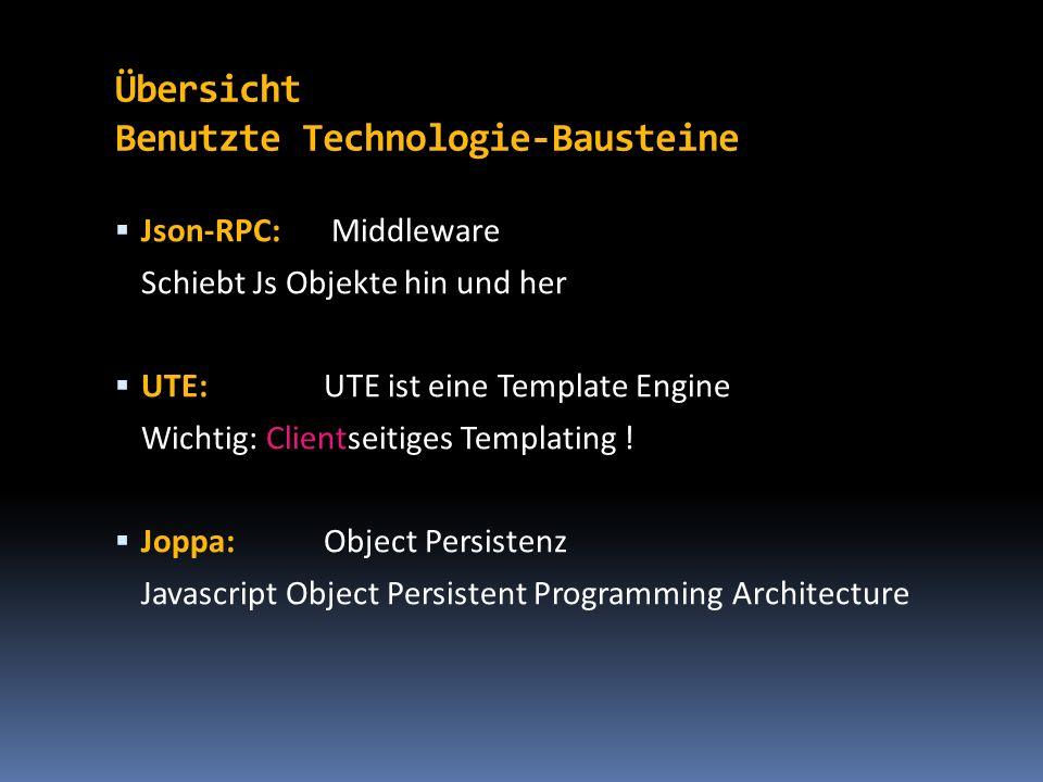 Übersicht Benutzte Technologie-Bausteine Json-RPC: Middleware Schiebt Js Objekte hin und her UTE: UTE ist eine Template Engine Wichtig: Clientseitiges