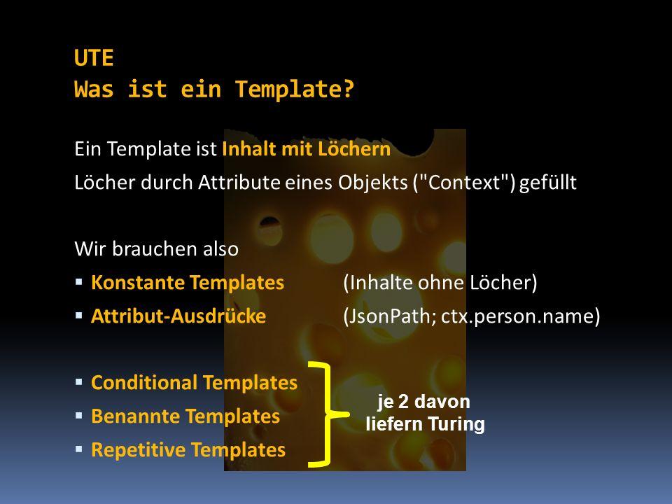 Ein Template ist Inhalt mit Löchern Löcher durch Attribute eines Objekts (
