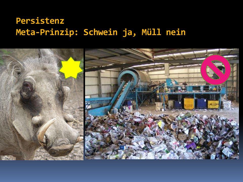 Persistenz Meta-Prinzip: Schwein ja, Müll nein