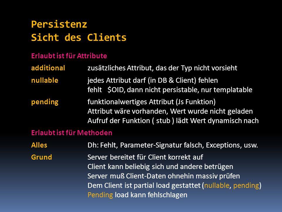 Persistenz Sicht des Clients Erlaubt ist für Attribute additionalzusätzliches Attribut, das der Typ nicht vorsieht nullablejedes Attribut darf (in DB