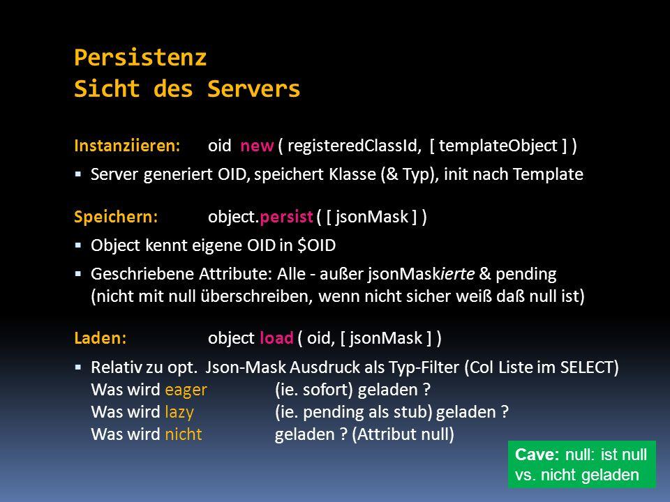 Persistenz Sicht des Servers Instanziieren:oid new ( registeredClassId, [ templateObject ] ) Server generiert OID, speichert Klasse (& Typ), init nach