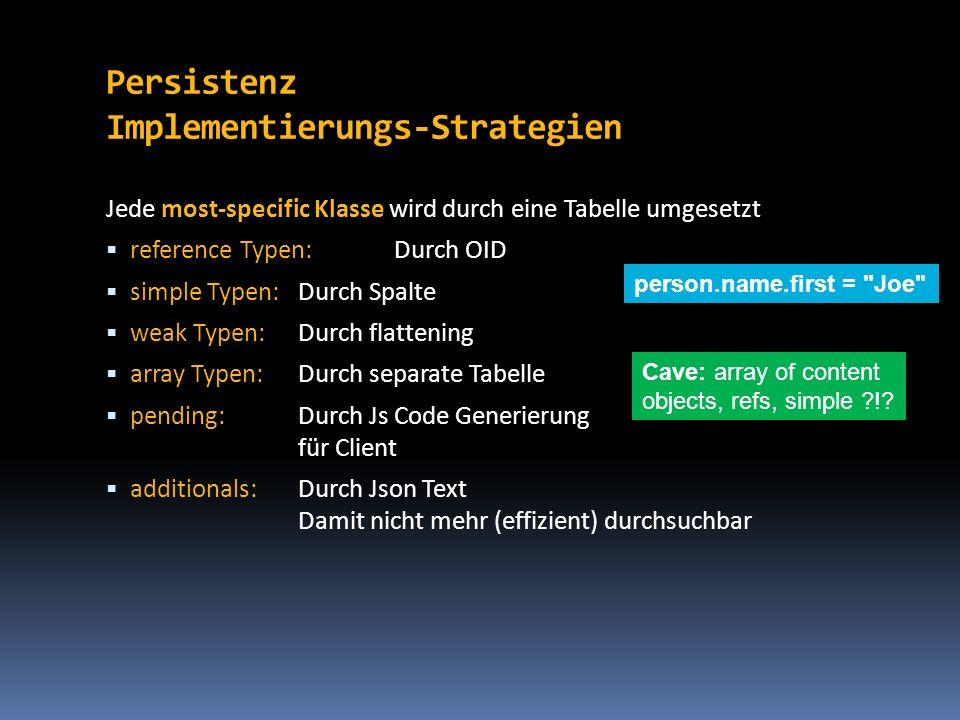 Persistenz Implementierungs-Strategien Jede most-specific Klasse wird durch eine Tabelle umgesetzt reference Typen:Durch OID simple Typen:Durch Spalte