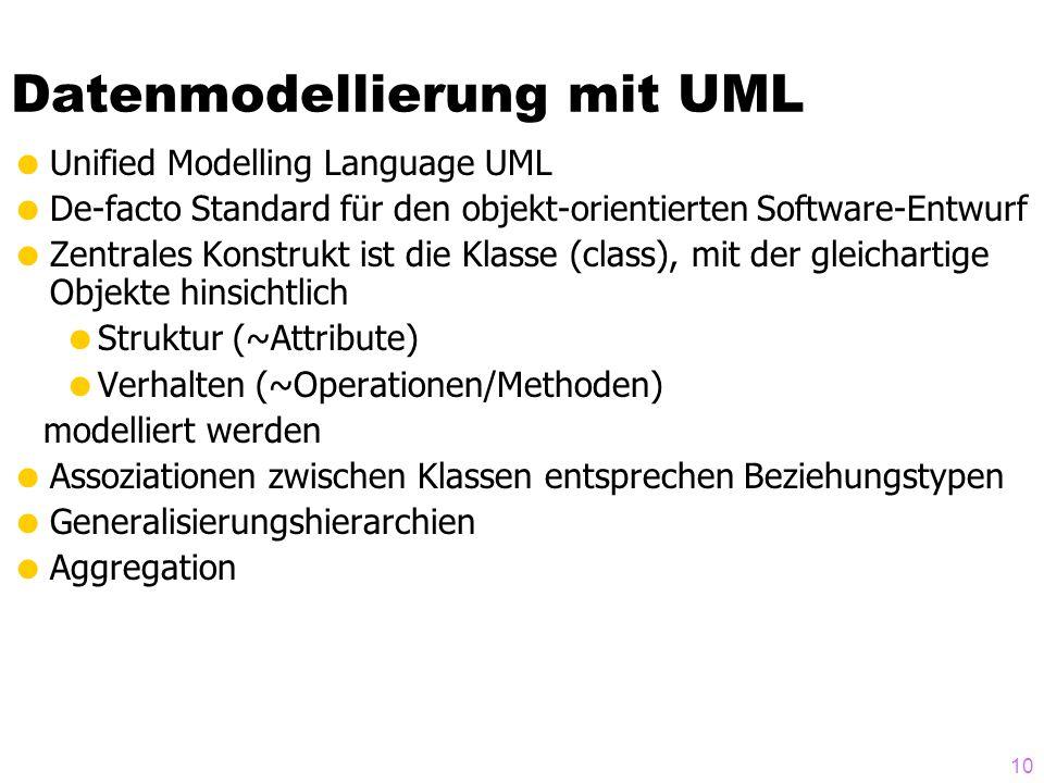 10 Datenmodellierung mit UML Unified Modelling Language UML De-facto Standard für den objekt-orientierten Software-Entwurf Zentrales Konstrukt ist die Klasse (class), mit der gleichartige Objekte hinsichtlich Struktur (~Attribute) Verhalten (~Operationen/Methoden) modelliert werden Assoziationen zwischen Klassen entsprechen Beziehungstypen Generalisierungshierarchien Aggregation