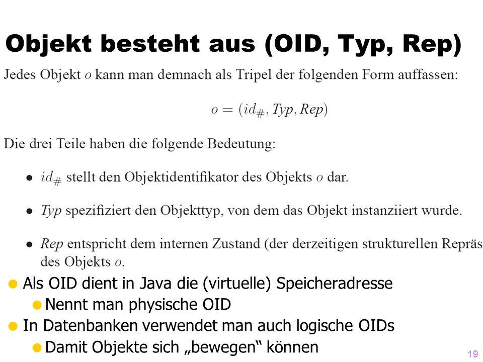 Objekt besteht aus (OID, Typ, Rep) Als OID dient in Java die (virtuelle) Speicheradresse Nennt man physische OID In Datenbanken verwendet man auch logische OIDs Damit Objekte sich bewegen können 19