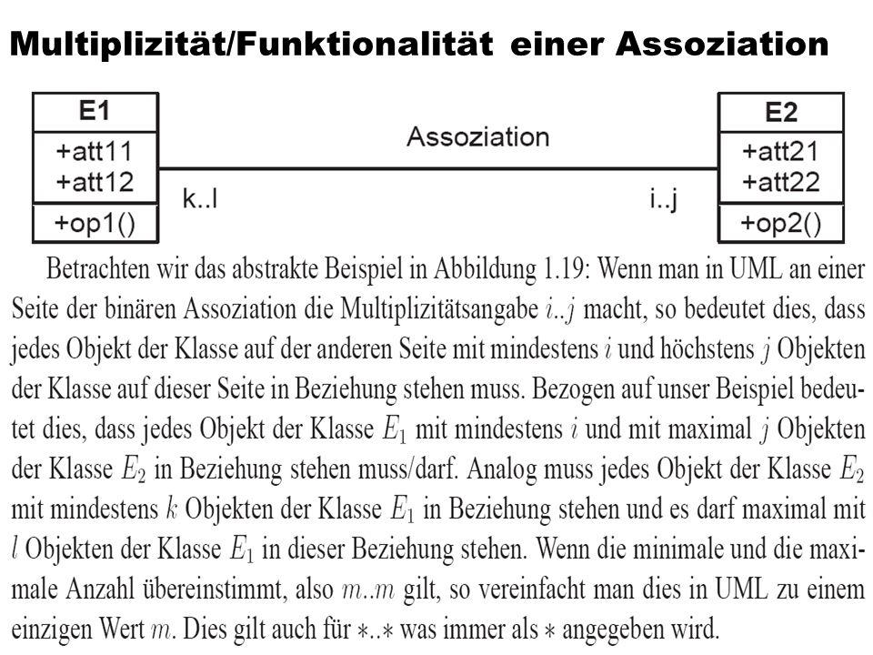 Multiplizität/Funktionalität einer Assoziation 40