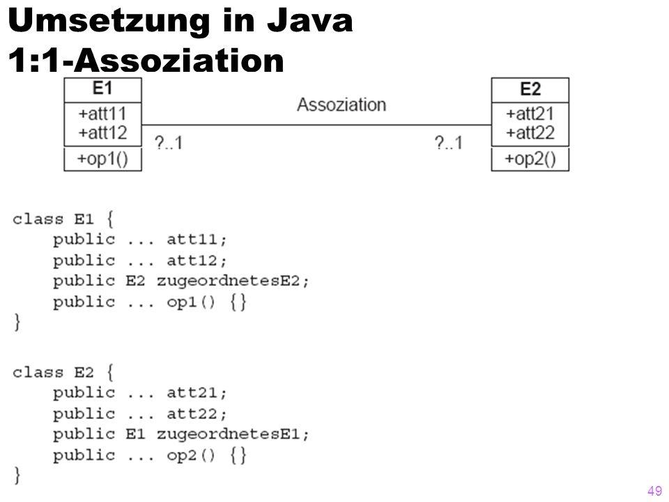 Umsetzung in Java 1:1-Assoziation 49