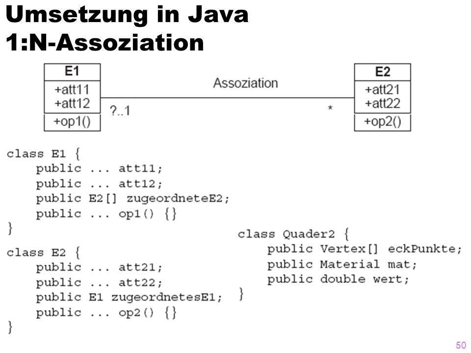 Umsetzung in Java 1:N-Assoziation 50