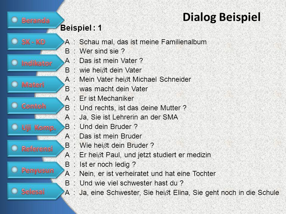 Dialog Beispiel Beispiel : 1 A : Schau mal, das ist meine Familienalbum B : Wer sind sie ? A : Das ist mein Vater ? B : wie hei t dein Vater A : Mein