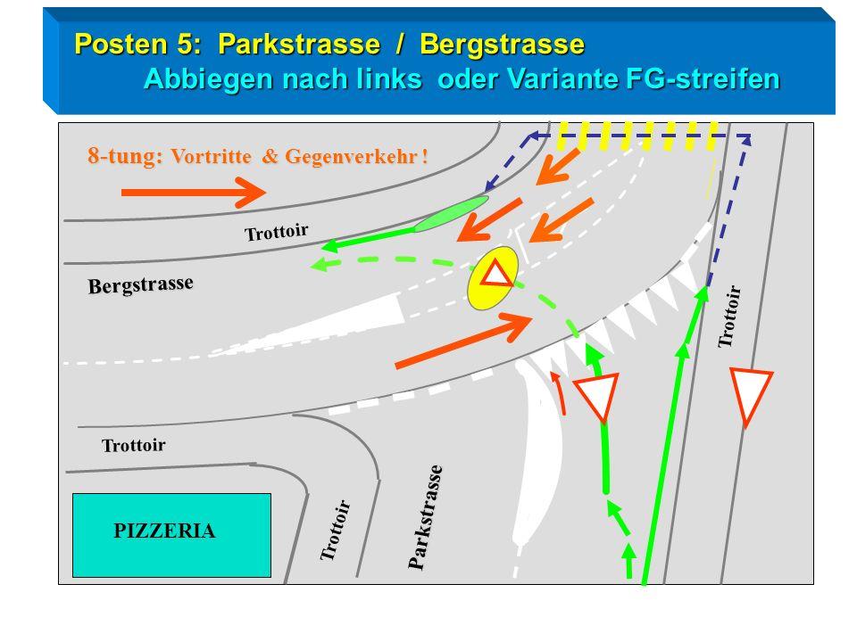 Radtest Goldau / Posten 5 Linksabbiegen Blick zurück / Zeichengabe / Einspuren / Vortritt ! Parkstrasse Bergstrasse