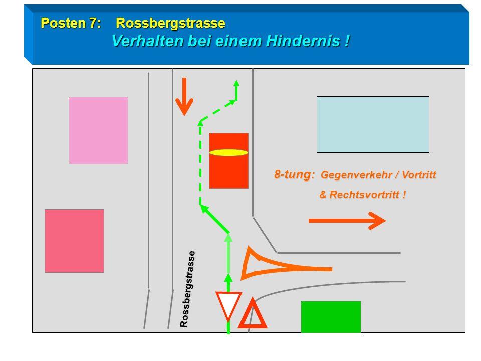 Radtest Goldau / Posten 7 Verhalten bei einem Hindernis Blick zurück / Zeichengabe / Vortritt ! Rossbergstrasse