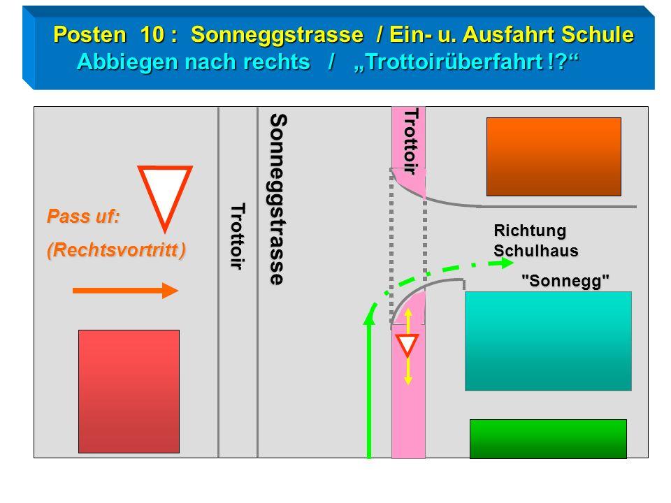 Radtest Goldau / Posten 10 Rechtsabbiegen Abbiegen nach rechts / Fussgänger ! Trottoir Sonneggstrasse Sonnegg Schulhaus
