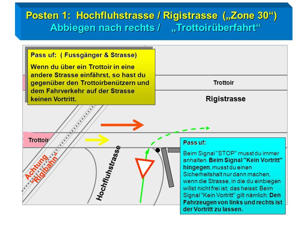 Radtest Goldau / Posten 1 Rechtsabbiegen / Trottoir Zeichengabe / Vortritt ! Trottoir Hochfluhstrasse Achtung = Fussgänger Trottoir Rigistrasse
