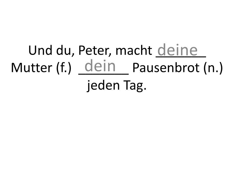 Und du, Peter, macht _______ Mutter (f.) _______ Pausenbrot (n.) jeden Tag. deine dein