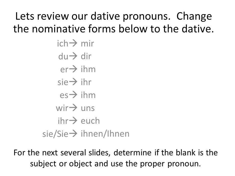 For the next several slides, determine if the blank is the subject or object and use the proper pronoun.