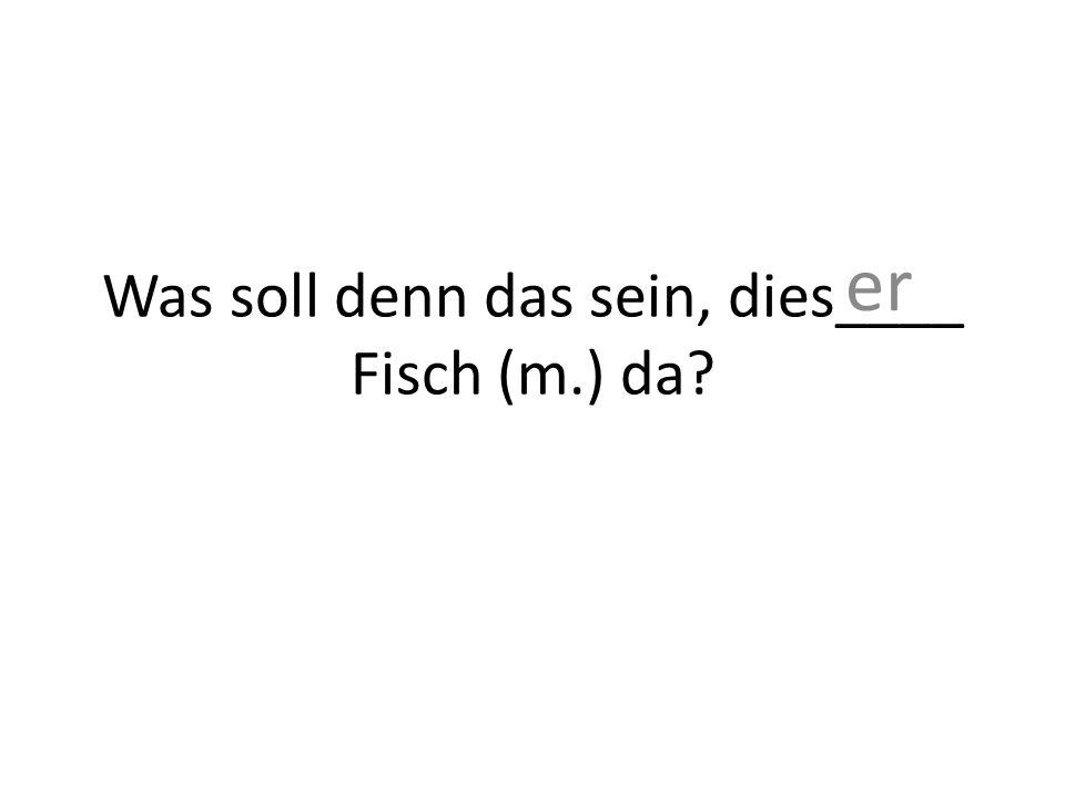 Was soll denn das sein, dies____ Fisch (m.) da? er