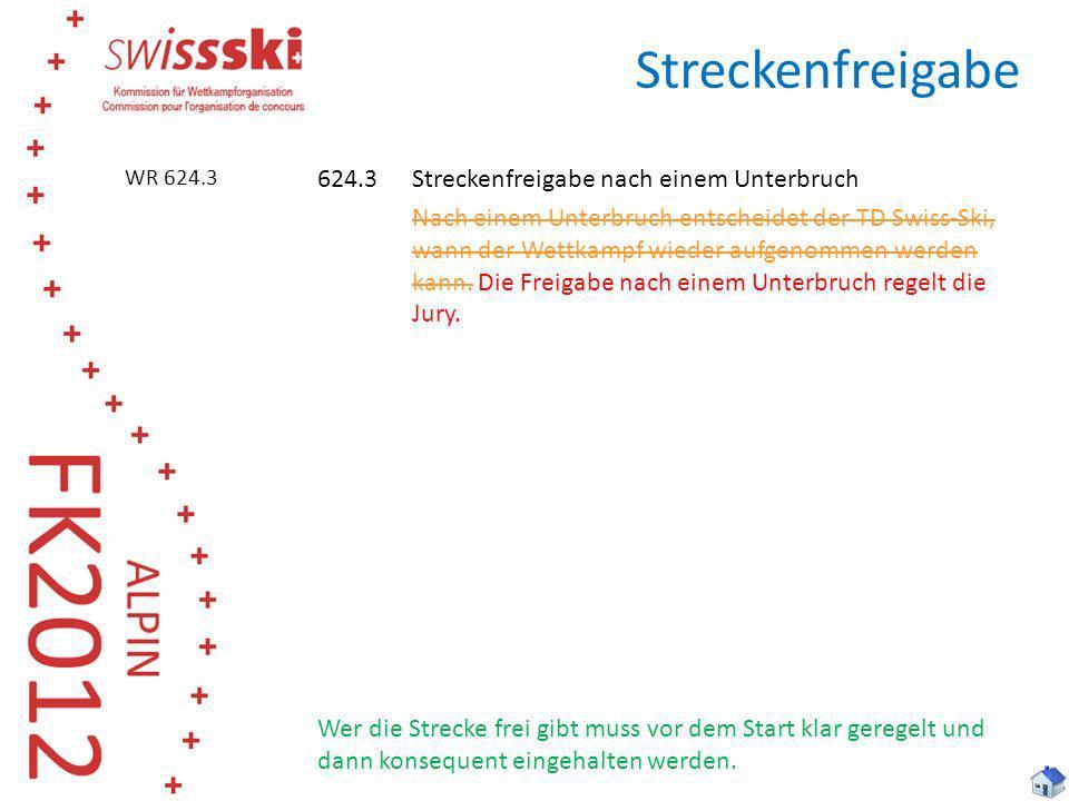 Streckenfreigabe 624.3Streckenfreigabe nach einem Unterbruch Nach einem Unterbruch entscheidet der TD Swiss-Ski, wann der Wettkampf wieder aufgenommen