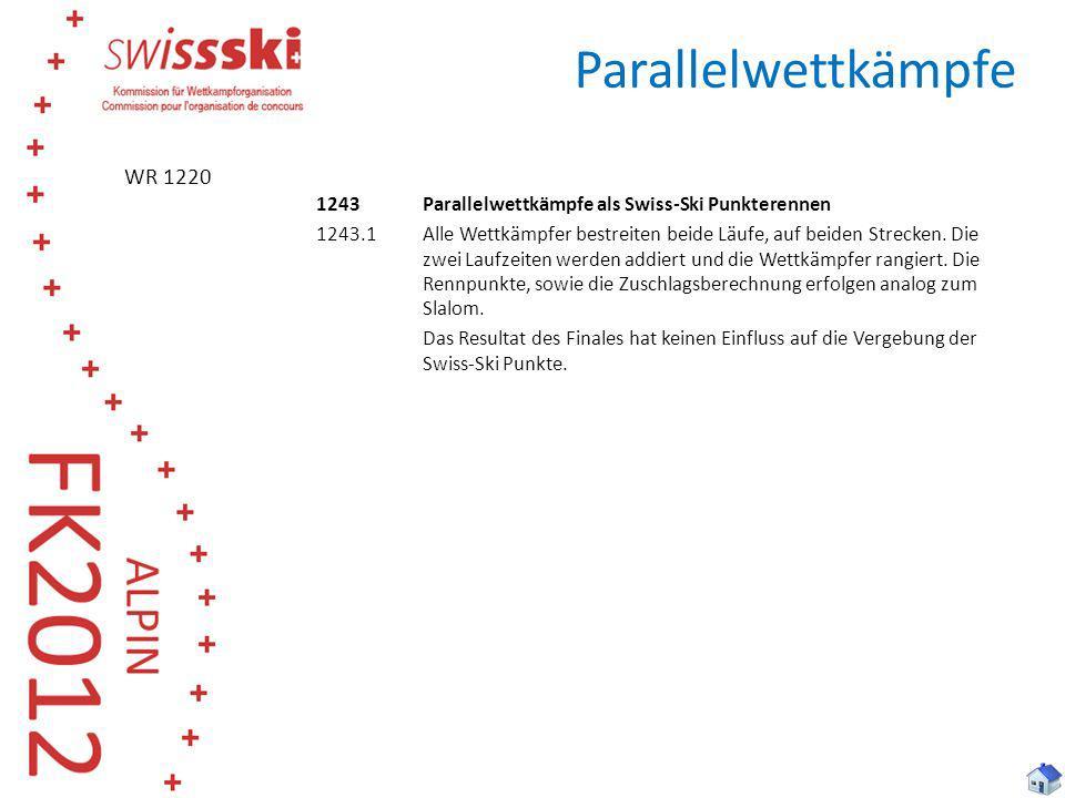 Parallelwettkämpfe 1243Parallelwettkämpfe als Swiss-Ski Punkterennen 1243.1Alle Wettkämpfer bestreiten beide Läufe, auf beiden Strecken. Die zwei Lauf