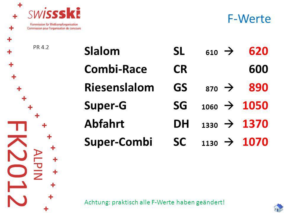 F-Werte SlalomSL 610 620 Combi-RaceCR600 RiesenslalomGS 870 890 Super-GSG 1060 1050 AbfahrtDH 1330 1370 Super-CombiSC 1130 1070 Achtung: praktisch all